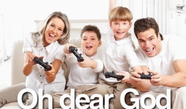 Image of Family Playing Game Having Fun
