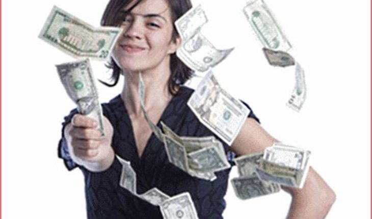 Young Woman Throwing Money - Show Me the Money